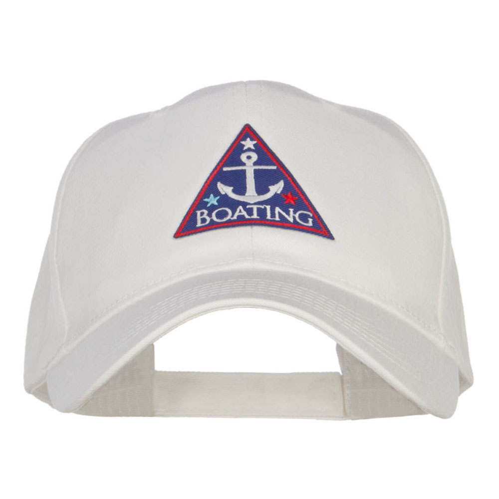 Boating Anchor Patched Low Cotton Cap - White