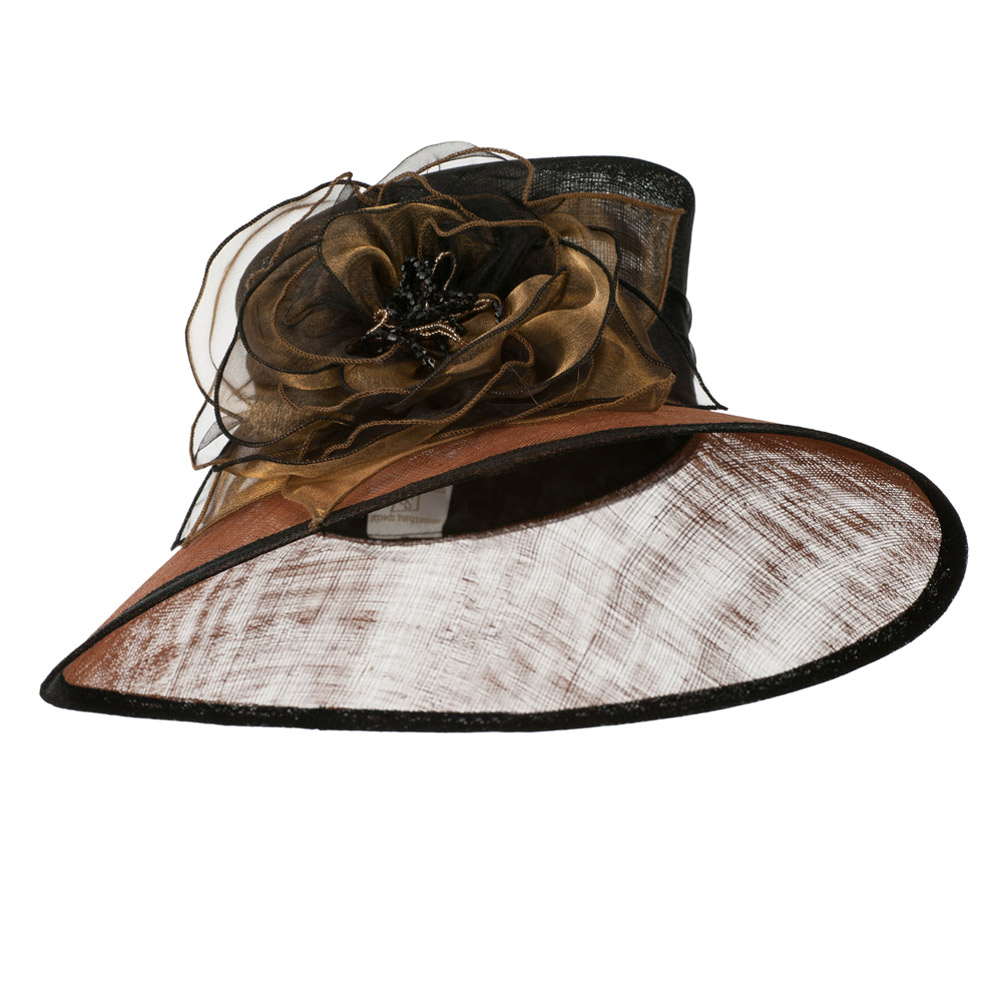 Two Tone Sheer Flower Accent Sinamay Hat - Black Luggage - Hats and Caps Online Shop - Hip Head Gear