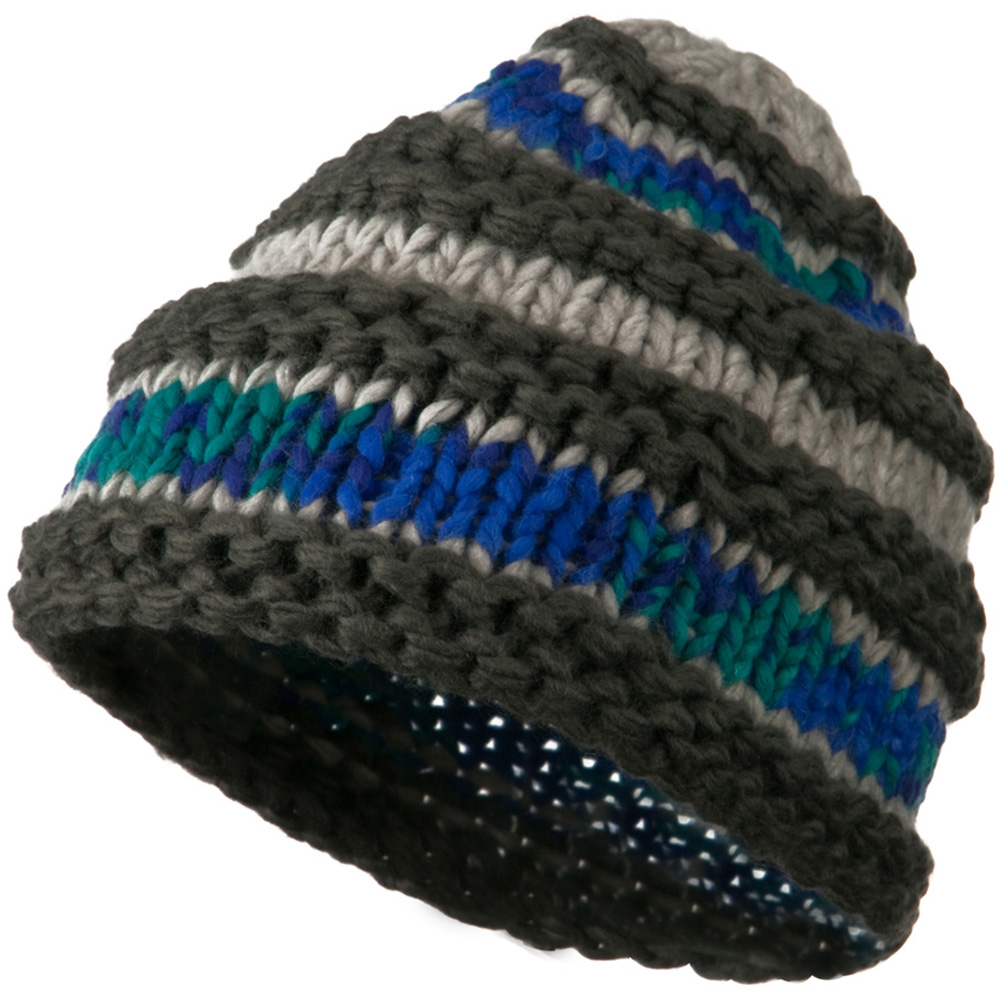 Unisex Acrylic Thick Striped Beanie - Grey Mix - Hats and Caps Online Shop - Hip Head Gear