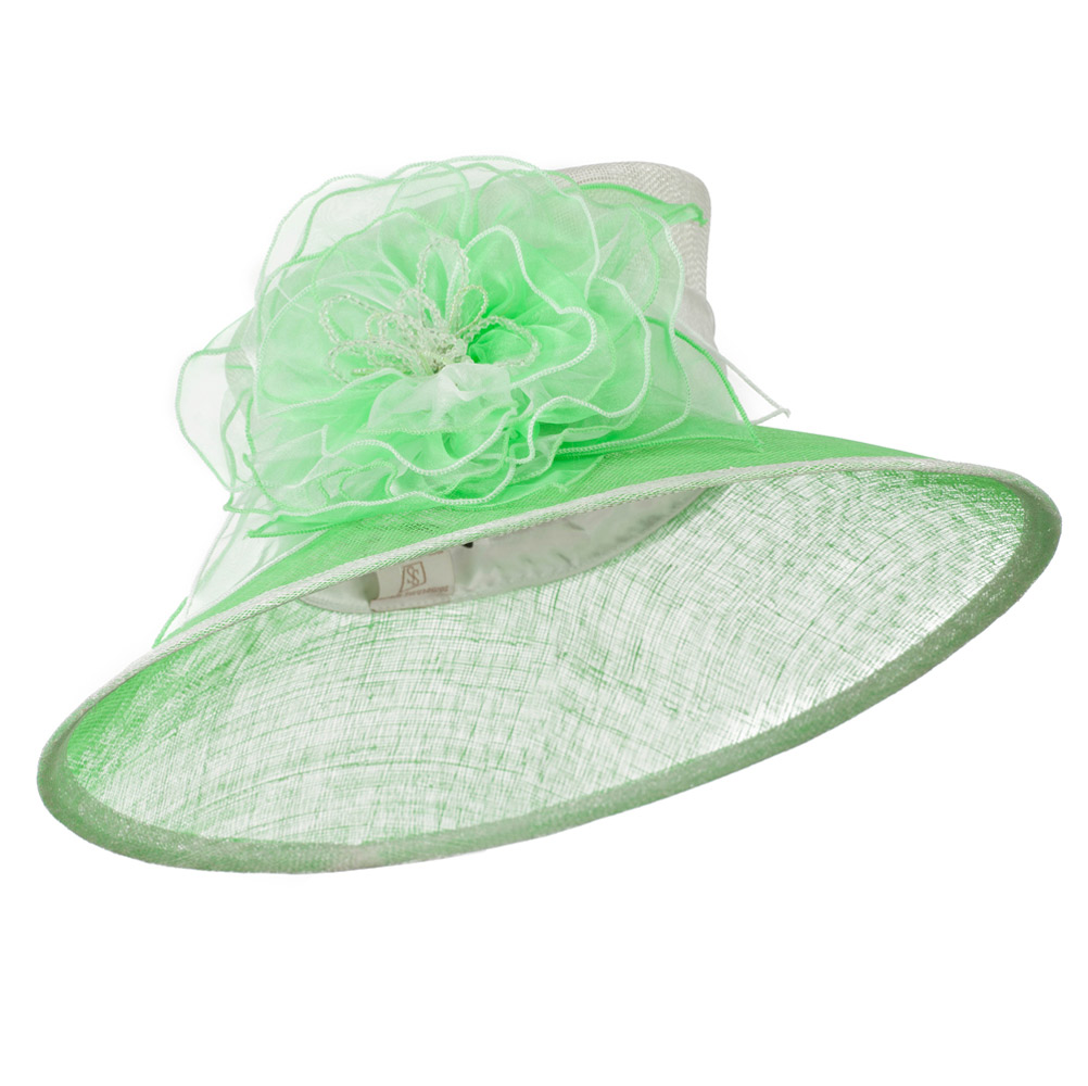 Two Tone Sheer Flower Accent Sinamay Hat - White Lime - Hats and Caps Online Shop - Hip Head Gear