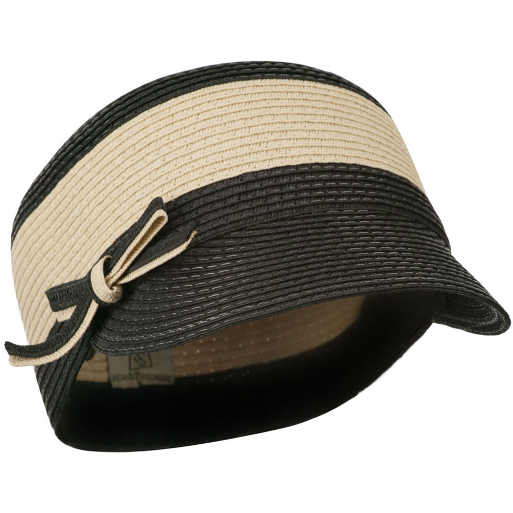 PP Braid Cap with Two Tone Stripes - Natural Black - Hats and Caps Online Shop - Hip Head Gear