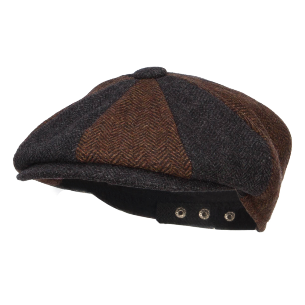 Men's Two Tone Wool 8 Panel Newsboy Hat - Brown Dk Grey
