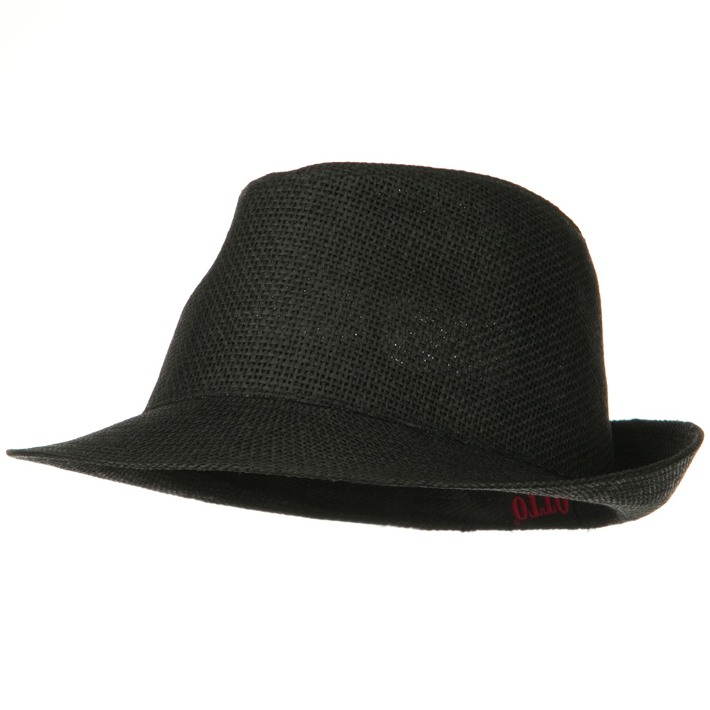 Twisted Toyo Straw Fedora Hat - Black - Hats and Caps Online Shop - Hip Head Gear