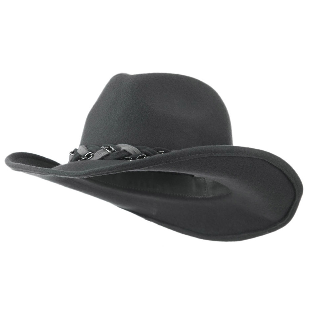 Wool Felt Cowboy Hat with Twisted Hat Band - Grey - Hats and Caps Online Shop - Hip Head Gear
