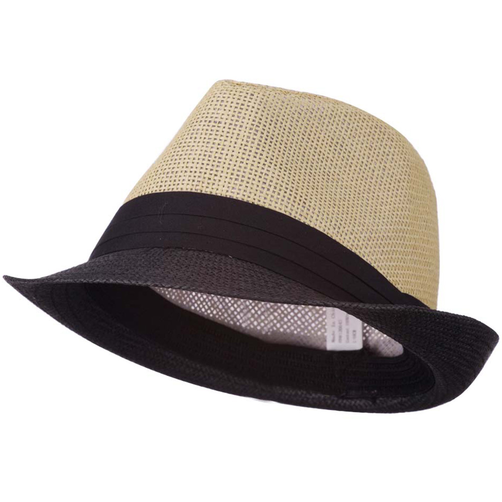 Men's Two Tone Paper Blend Fedora Hat - Black Tan - Hats and Caps Online Shop - Hip Head Gear