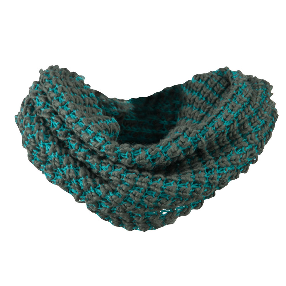 Two Tone Thick Ribbed Neck Warmer - Grey Turquoise
