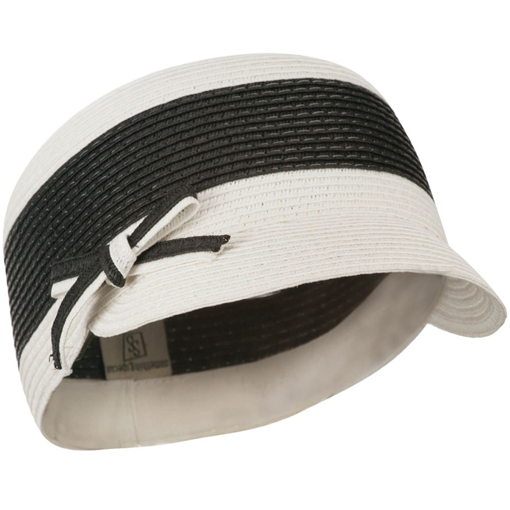 PP Braid Cap with Two Tone Stripes - Black White - Hats and Caps Online Shop - Hip Head Gear