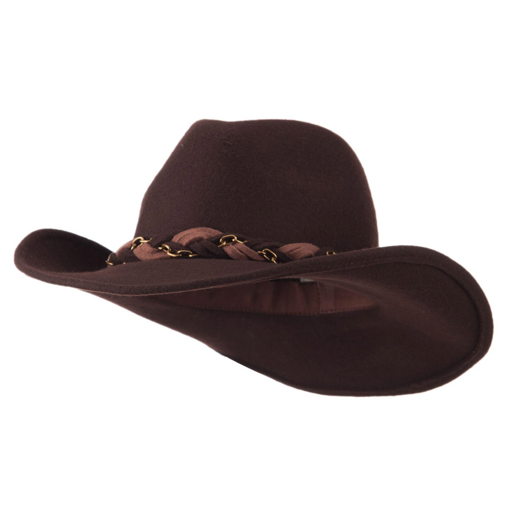 Wool Felt Cowboy Hat with Twisted Hat Band - Brown - Hats and Caps Online Shop - Hip Head Gear