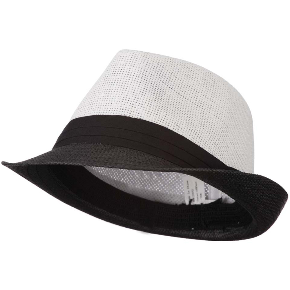 Men's Two Tone Paper Blend Fedora Hat - Black White - Hats and Caps Online Shop - Hip Head Gear