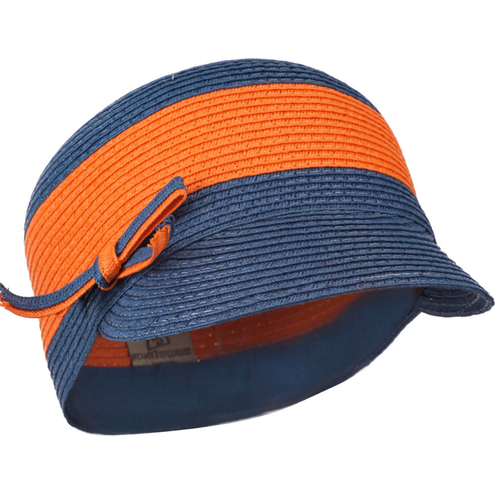 PP Braid Cap with Two Tone Stripes - Orange Navy - Hats and Caps Online Shop - Hip Head Gear