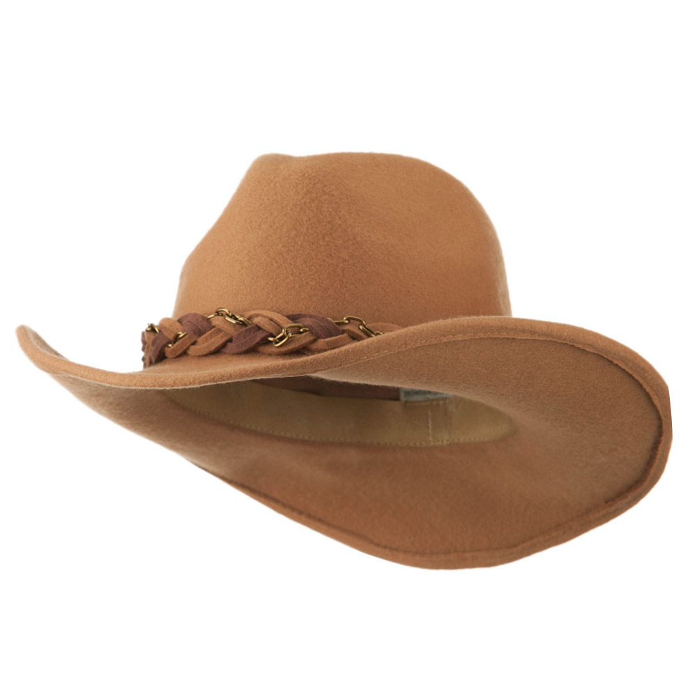 Wool Felt Cowboy Hat with Twisted Hat Band - Camel - Hats and Caps Online Shop - Hip Head Gear
