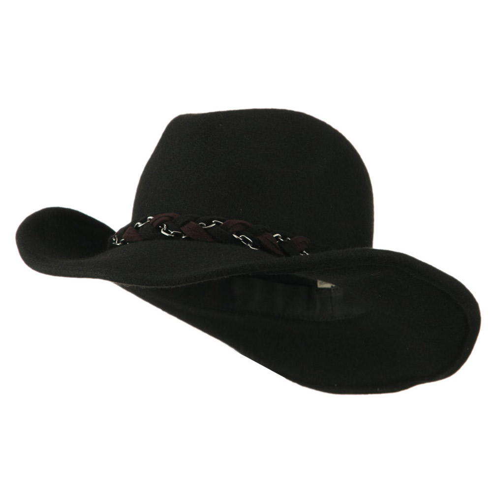 Wool Felt Cowboy Hat with Twisted Hat Band - Black - Hats and Caps Online Shop - Hip Head Gear