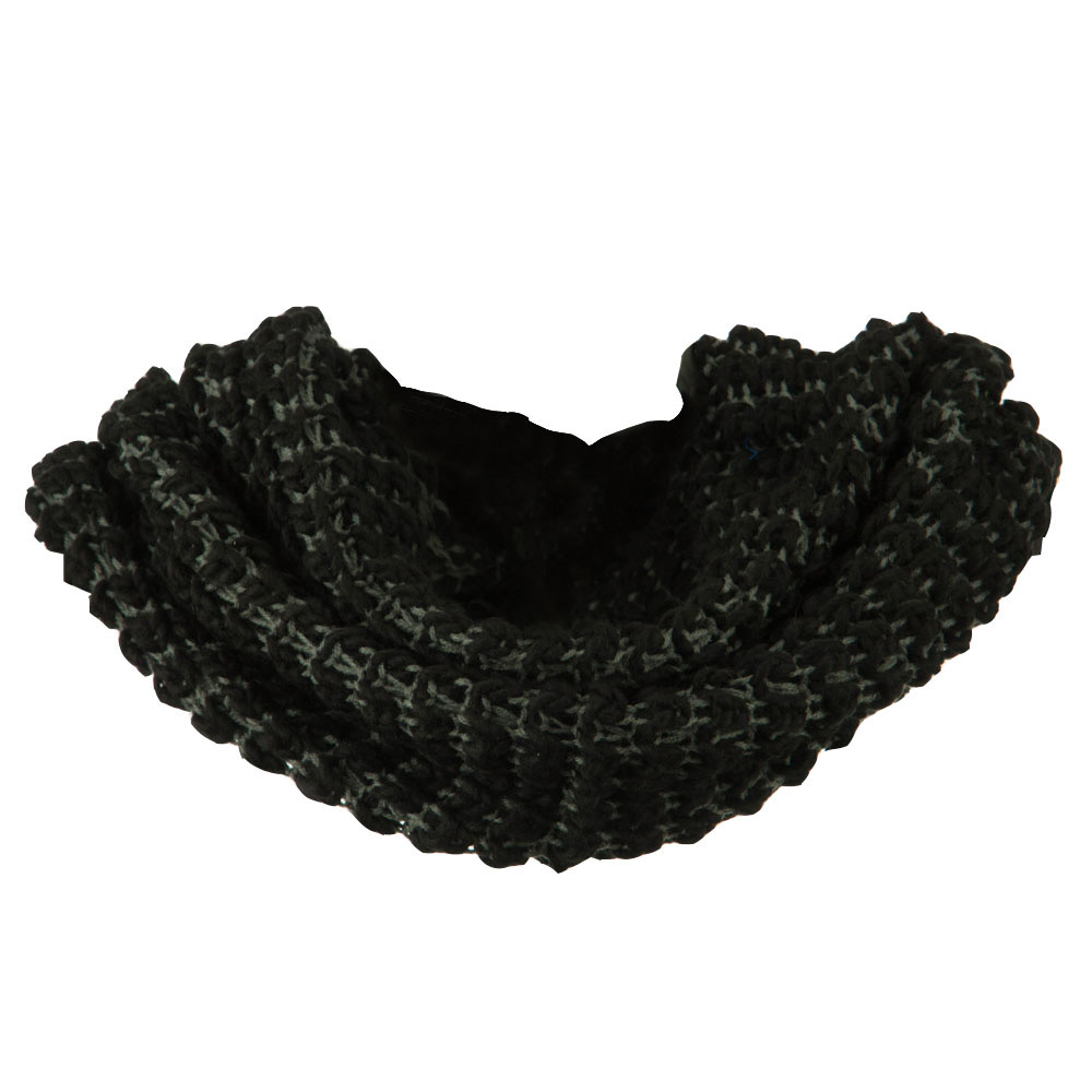 Two Tone Thick Ribbed Neck Warmer - Black Grey