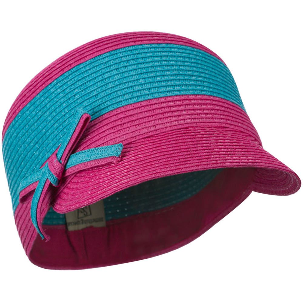PP Braid Cap with Two Tone Stripes - Turquoise Fuchsia - Hats and Caps Online Shop - Hip Head Gear