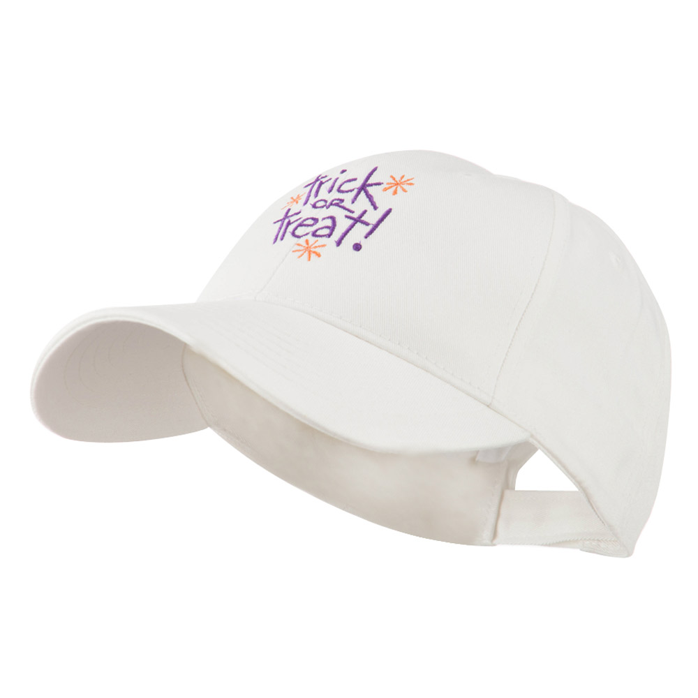 Trick or Treat with Stars Embroidered Cap - White - Hats and Caps Online Shop - Hip Head Gear