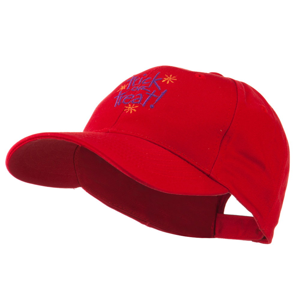 Trick or Treat with Stars Embroidered Cap - Red - Hats and Caps Online Shop - Hip Head Gear