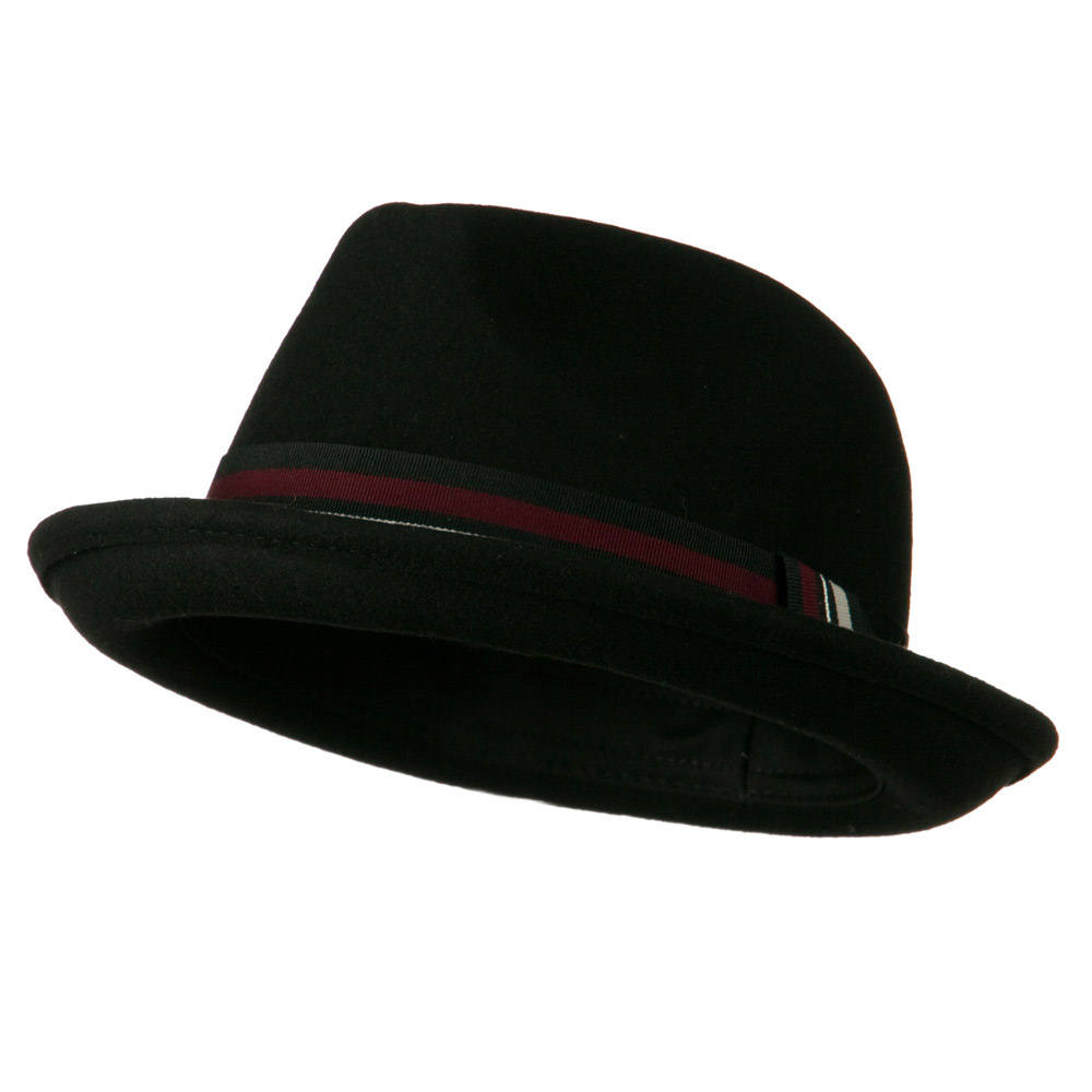 Man's Striped Band Felt Fedora - Black - Hats and Caps Online Shop - Hip Head Gear