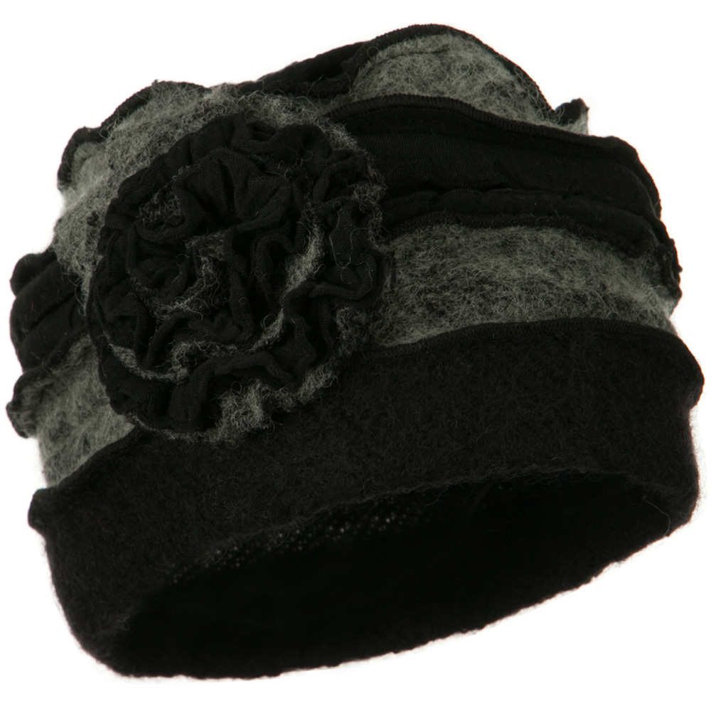 Flower Two Tone Wool Hat - Grey - Hats and Caps Online Shop - Hip Head Gear