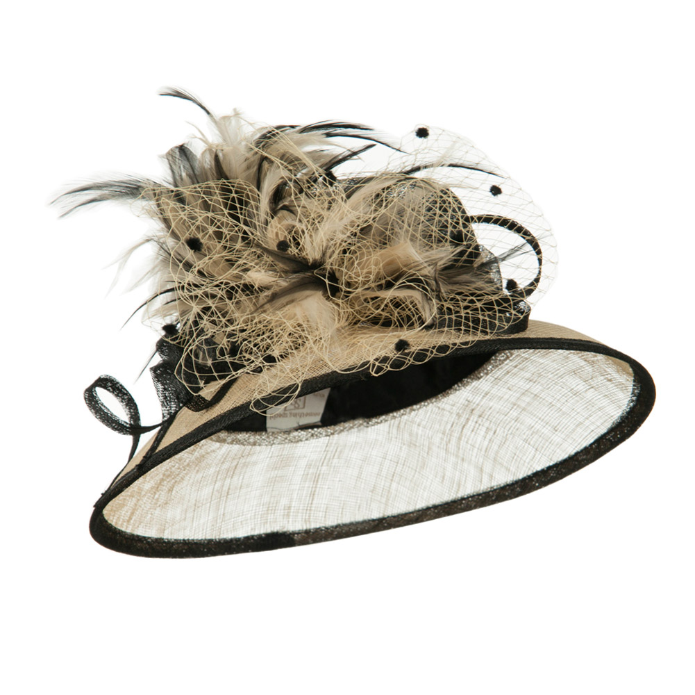 Two Tone Sinamay Hat With Feather - Black Champagne - Hats and Caps Online Shop - Hip Head Gear