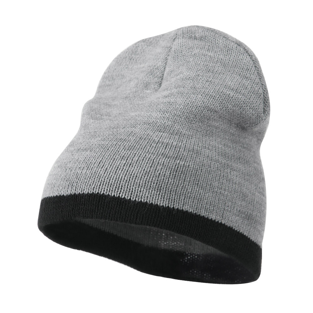 Two Tone Short Beanie - Lt Grey Black - Hats and Caps Online Shop - Hip Head Gear