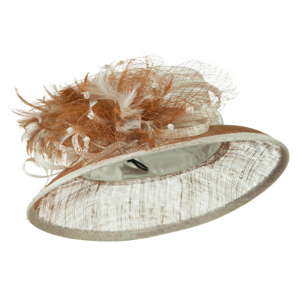 Two Tone Sinamay Hat With Feather - White Luggage - Hats and Caps Online Shop - Hip Head Gear