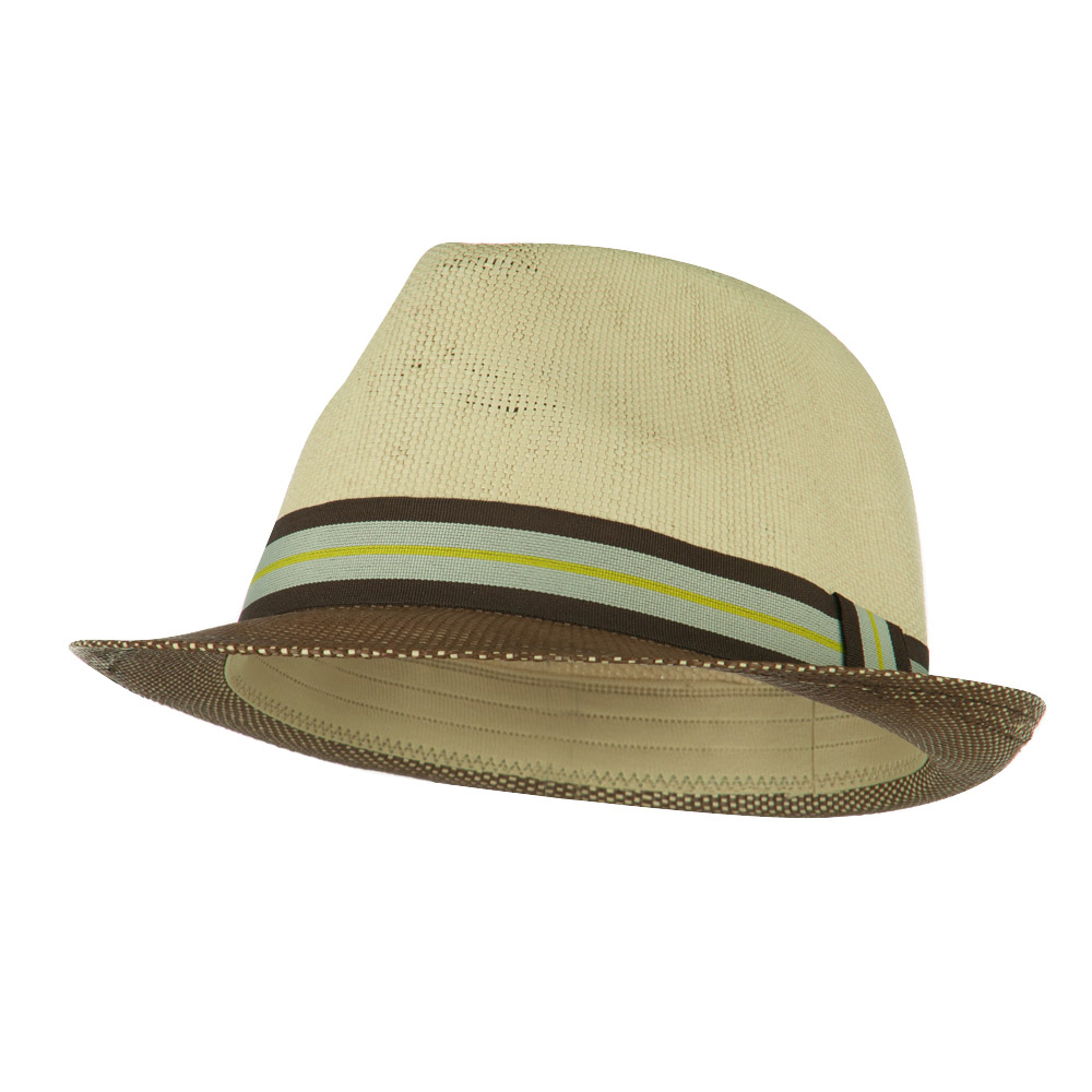 Two Tone Paper Straw Fedora - Brown Natural - Hats and Caps Online Shop - Hip Head Gear