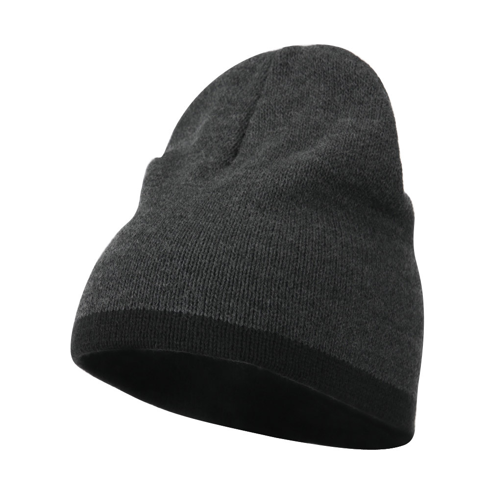 Two Tone Short Beanie - Dk Grey Black - Hats and Caps Online Shop - Hip Head Gear