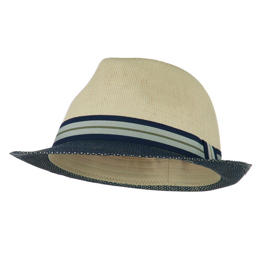 Two Tone Paper Straw Fedora - Navy Natural - Hats and Caps Online Shop - Hip Head Gear
