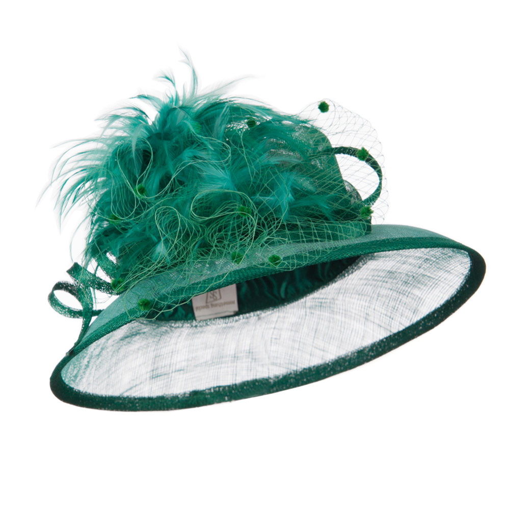 Two Tone Sinamay Hat With Feather - Green Mint - Hats and Caps Online Shop - Hip Head Gear