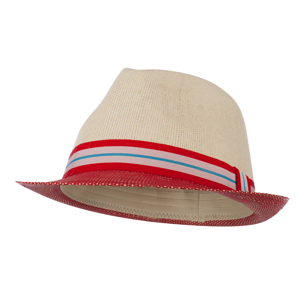 Two Tone Paper Straw Fedora - Red Natural - Hats and Caps Online Shop - Hip Head Gear