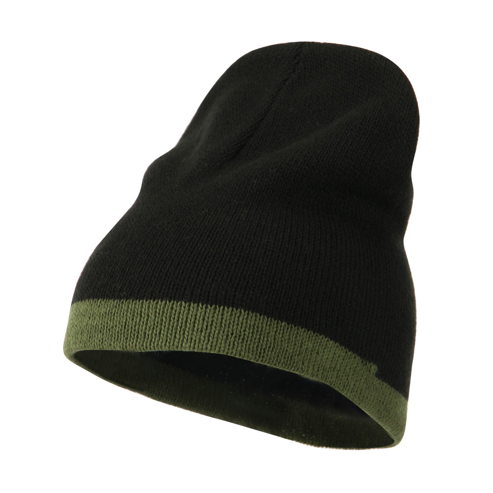 Two Tone Short Beanie - Black Olive - Hats and Caps Online Shop - Hip Head Gear