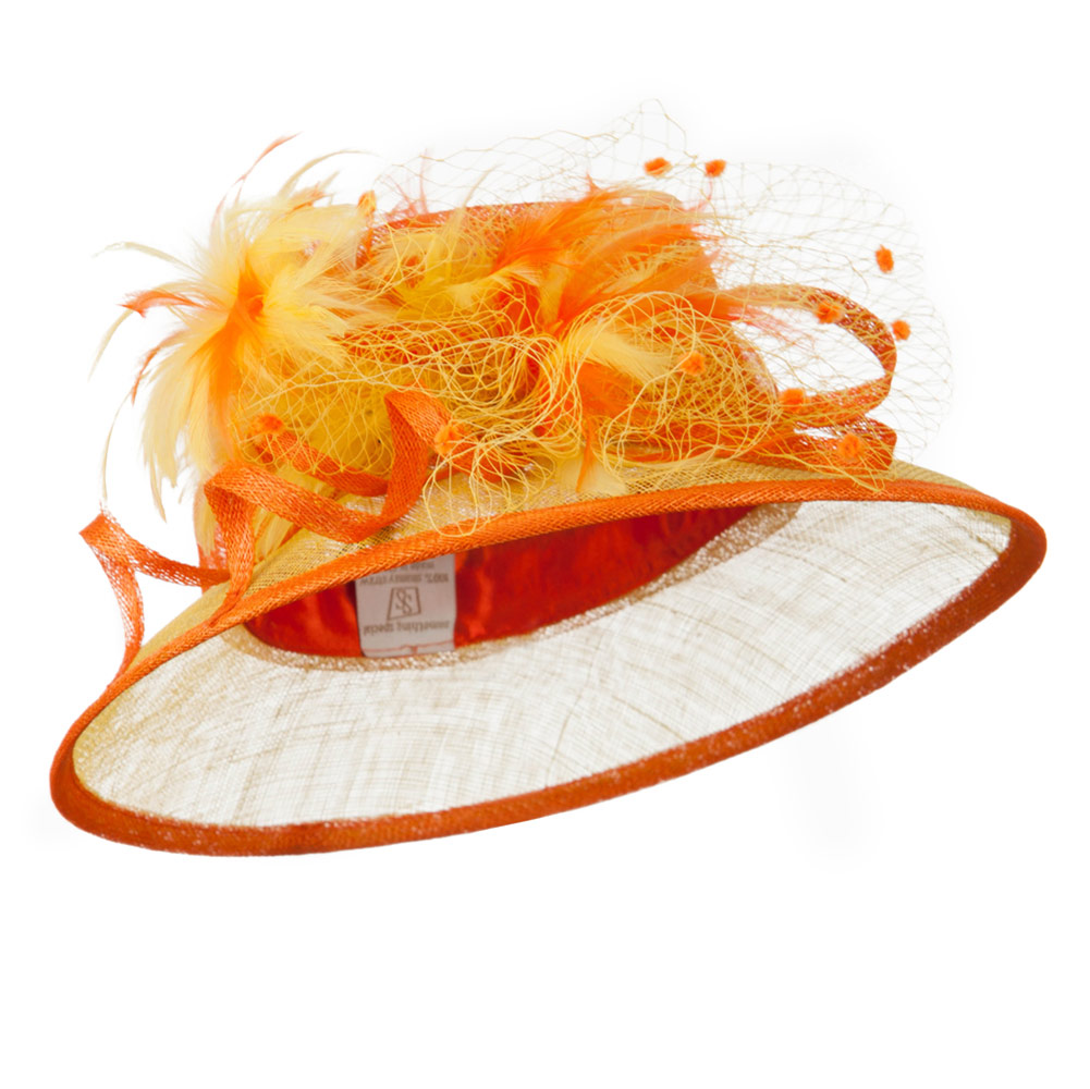 Two Tone Sinamay Hat With Feather - Orange Yellow - Hats and Caps Online Shop - Hip Head Gear