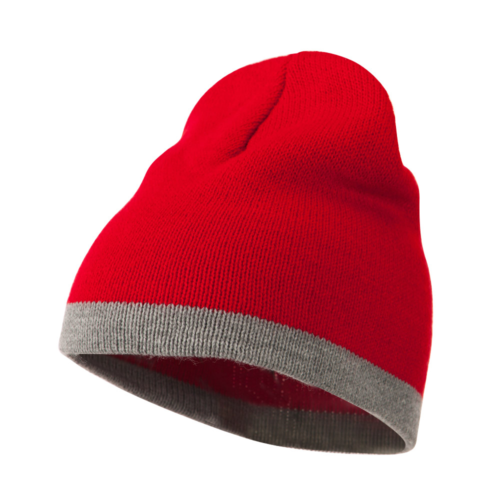 Two Tone Short Beanie - Red Lt Grey - Hats and Caps Online Shop - Hip Head Gear