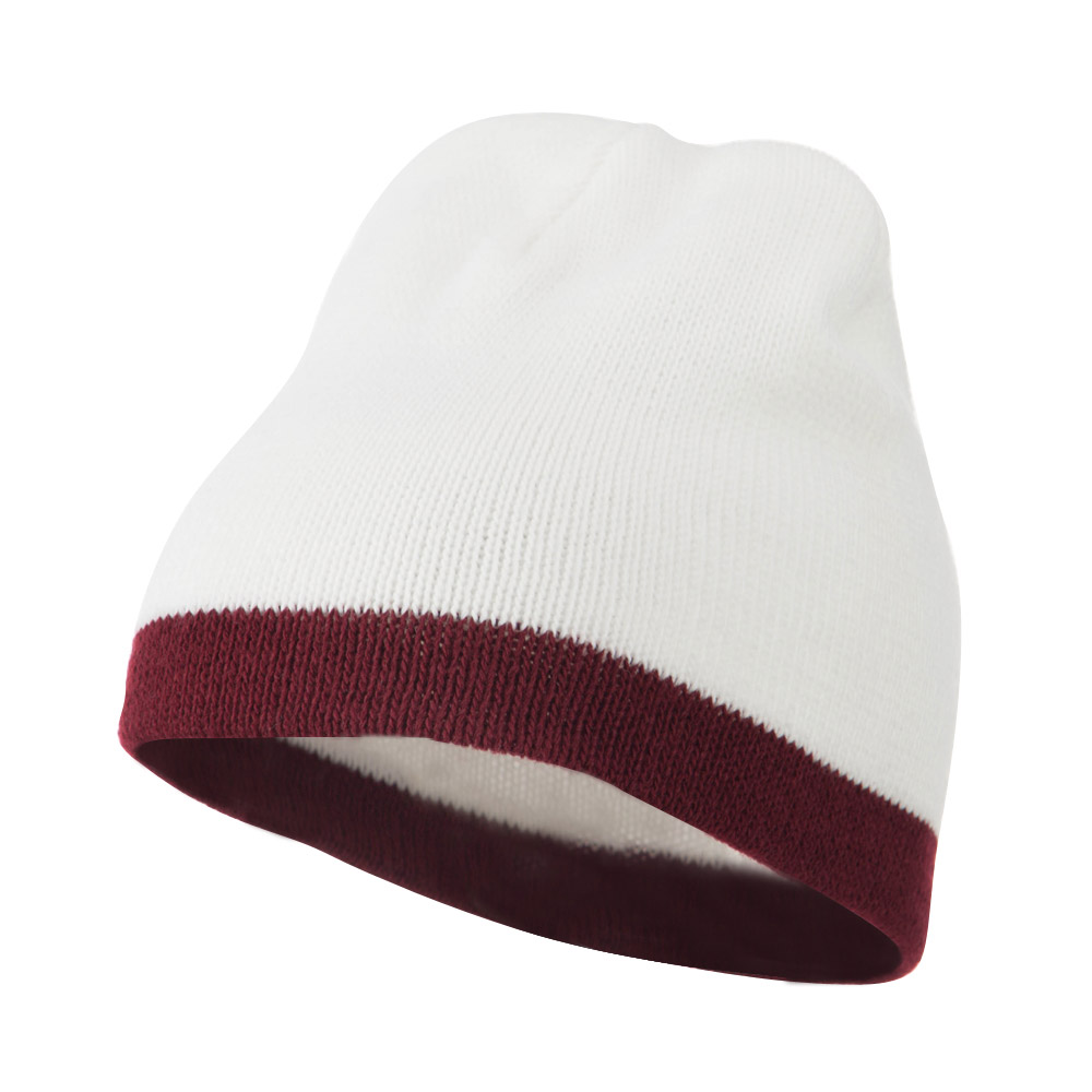 Two Tone Short Beanie - White Burgundy - Hats and Caps Online Shop - Hip Head Gear