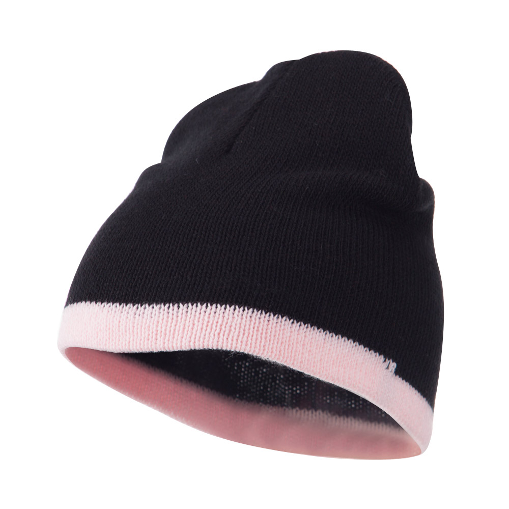 Two Tone Short Beanie - Black Pink - Hats and Caps Online Shop - Hip Head Gear