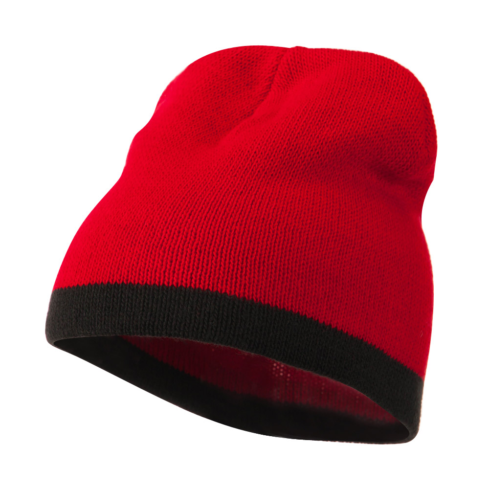 Two Tone Short Beanie - Red Black - Hats and Caps Online Shop - Hip Head Gear