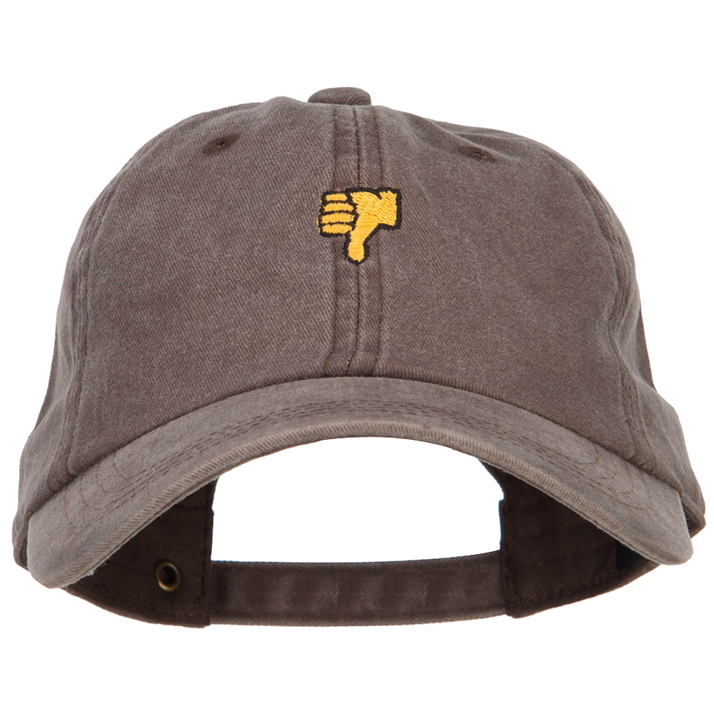 Mini Thumbs Down Embroidered Unstructured Dyed Cap - Brown