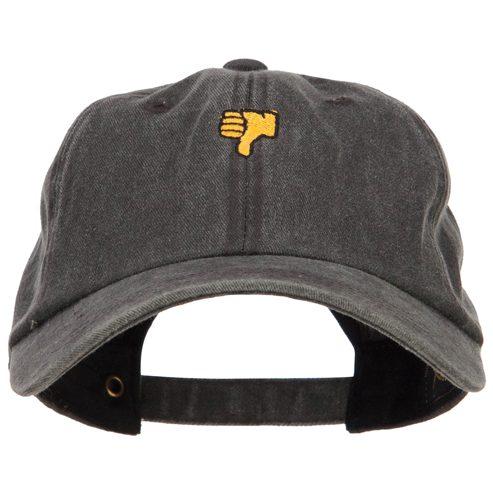 Mini Thumbs Down Embroidered Unstructured Dyed Cap - Black