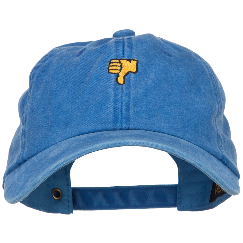 Mini Thumbs Down Embroidered Unstructured Dyed Cap - Royal