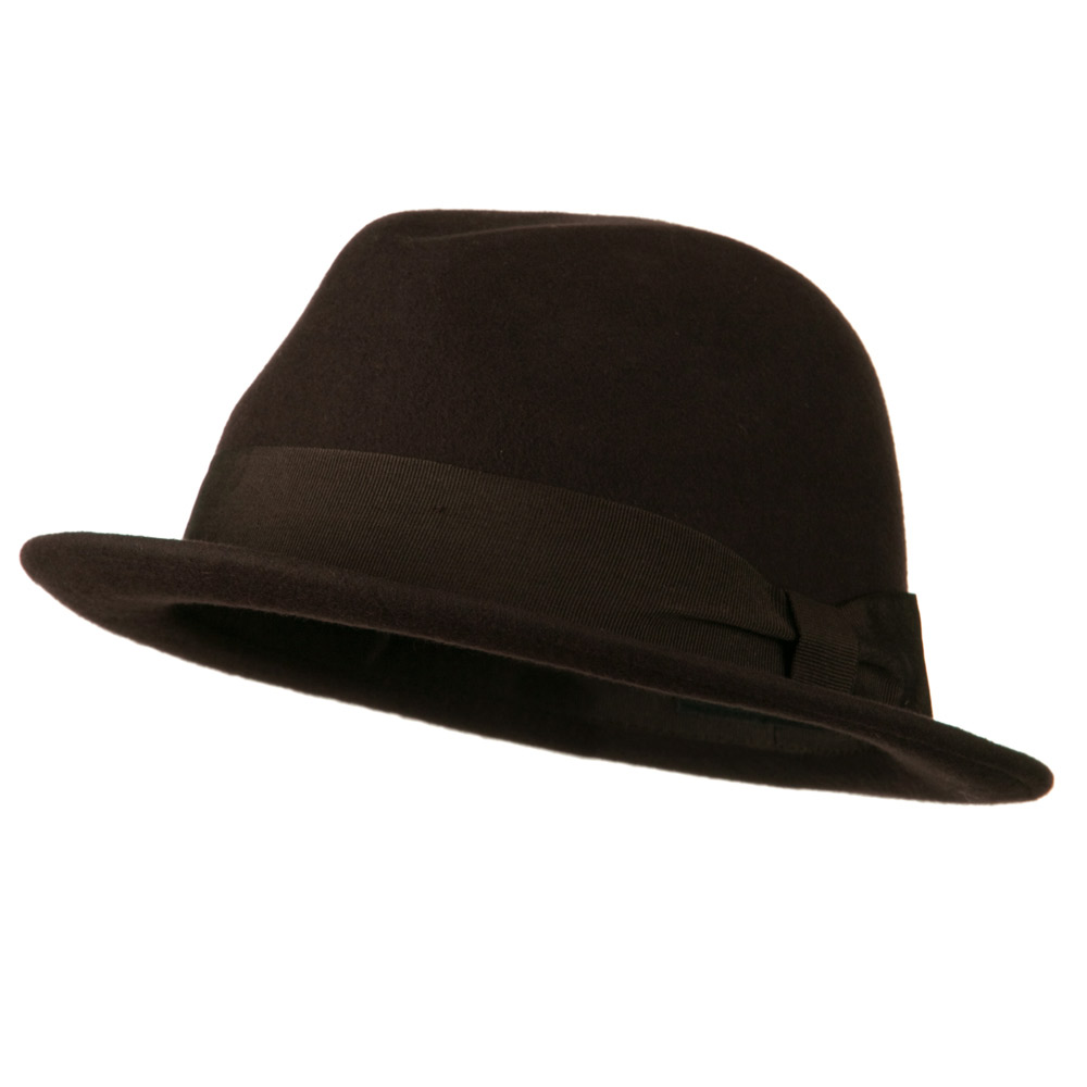 Upturned Brim Wool Felt Hat - Brown - Hats and Caps Online Shop - Hip Head Gear