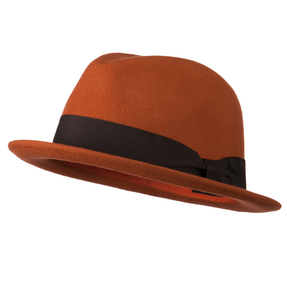 Upturned Brim Wool Felt Hat - Rust - Hats and Caps Online Shop - Hip Head Gear