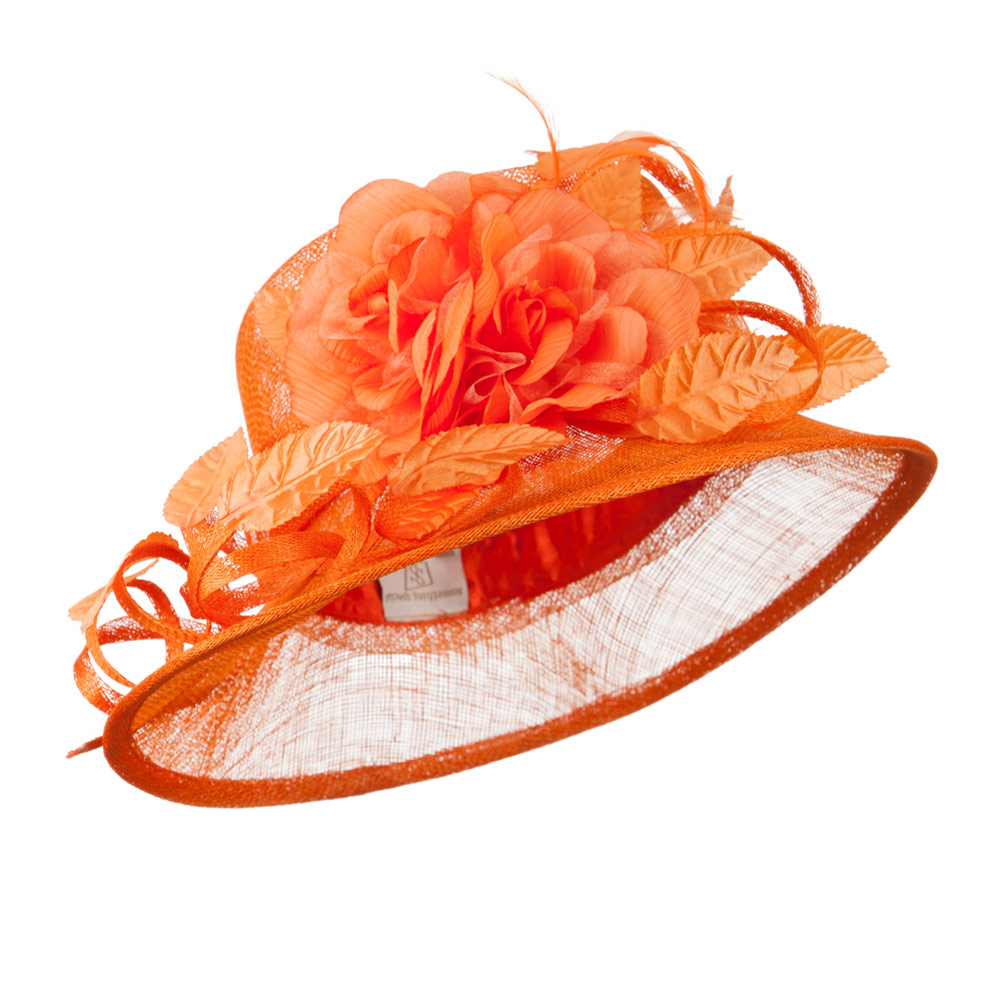 Unbalance Brim Curl Bow Sinamay Hat - Orange - Hats and Caps Online Shop - Hip Head Gear