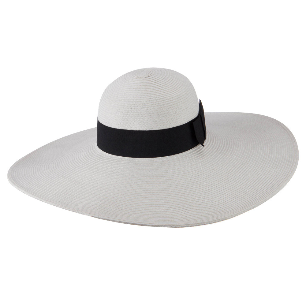 UPF 50+ Black Ribbon Wide Flat Brim Hat - White - Hats and Caps Online Shop - Hip Head Gear