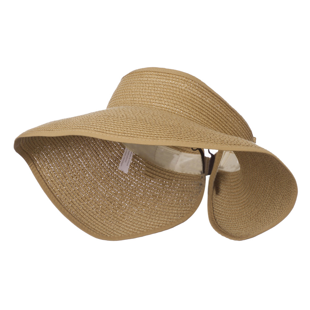 UPF 50+ Bow Closure Roll Up Visor - Light Brown - Hats and Caps Online Shop - Hip Head Gear