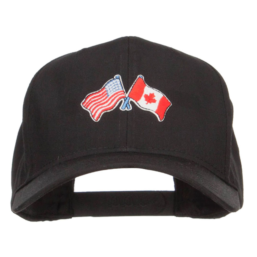 US Canada Flag Patched Cap - Black
