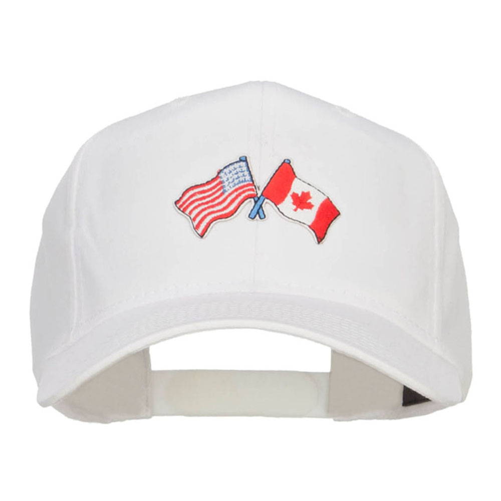 US Canada Flag Patched Cap - White