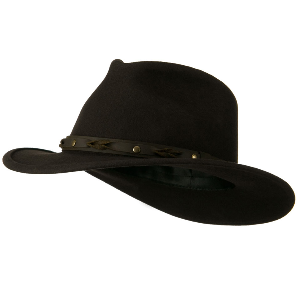 Unisex Felt Hat with Twisted Leather Band - Brown - Hats and Caps Online Shop - Hip Head Gear