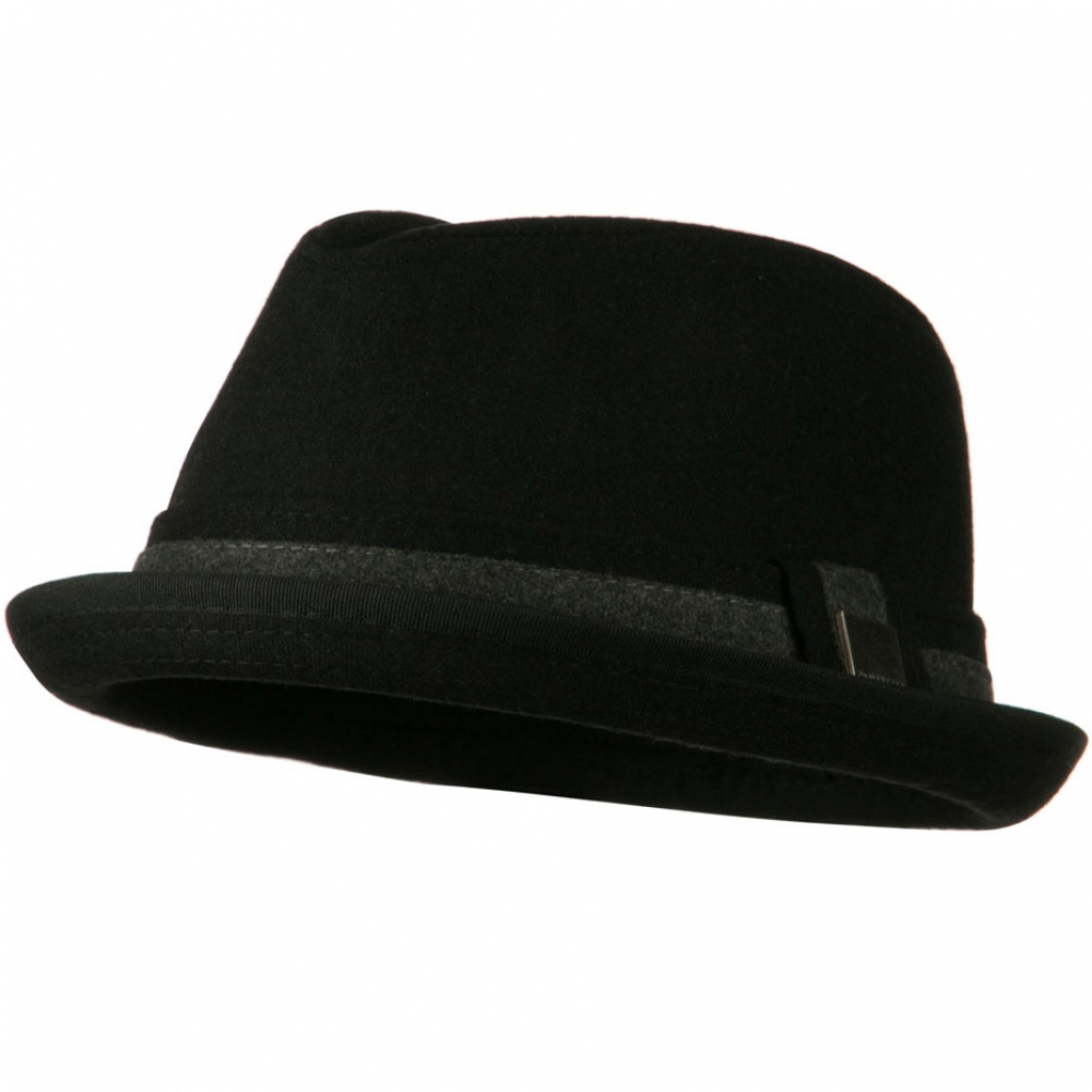 Upbrim Stingy Fedora Hat with Matching Band - Black - Hats and Caps Online Shop - Hip Head Gear