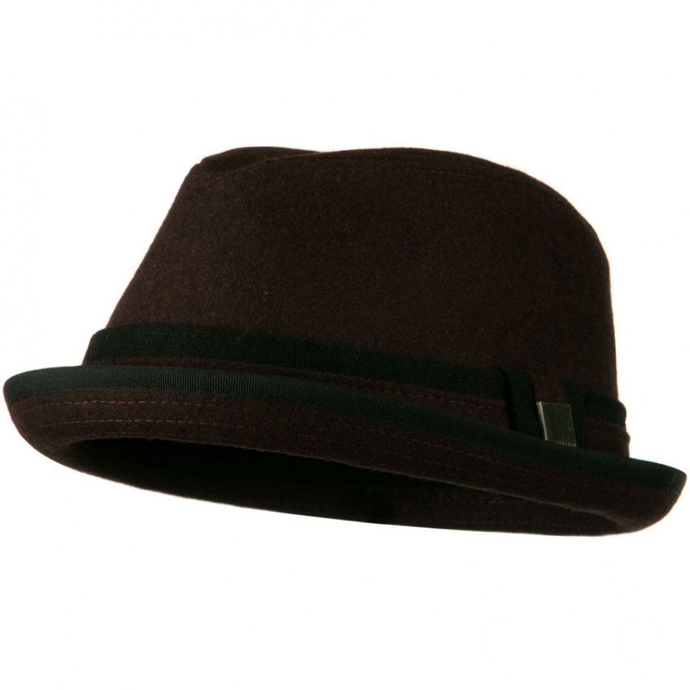 Upbrim Stingy Fedora Hat with Matching Band - Brown - Hats and Caps Online Shop - Hip Head Gear