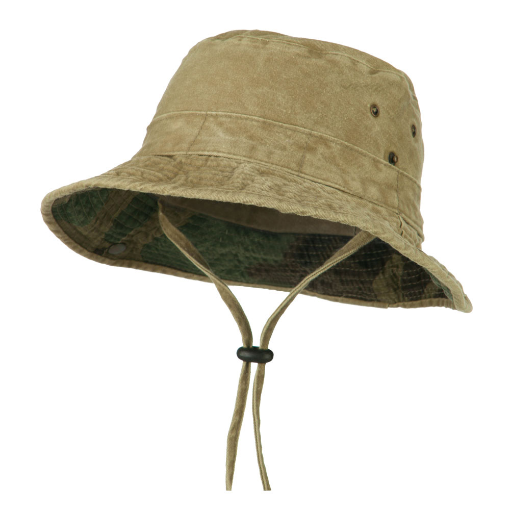 UPF 50+ Kid's Cotton Casual Boonie Hat - Khaki - Hats and Caps Online Shop - Hip Head Gear